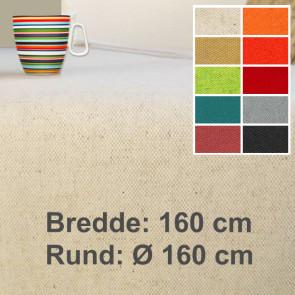 Lino 160, ensfarvet akryldug, hør bomuld, 160 cm bred eller rund Ø 160 cm