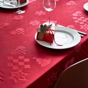 Juna Juledug Natale, flot damaskdug i rød - 150 cm x 270 cm