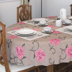 Viviane Natur, voksdug med lyserøde blomster